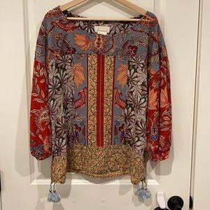 Women's Anthropologie fall boho blouse L